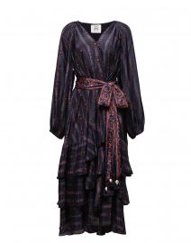 Kira Navy Silk Dress with Paisley Belt
