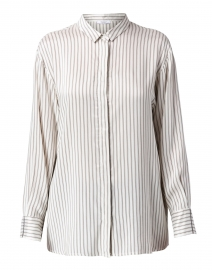 White and Taupe Striped Silk Shirt