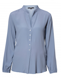 Grey Blue Silk Blouse