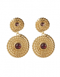 Lucky Red Stoned Mini Cabochon Gold Drop Earrings