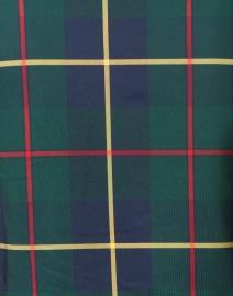 Gretchen Scott - Plaidly Green Plaid Ruffle Neck Top