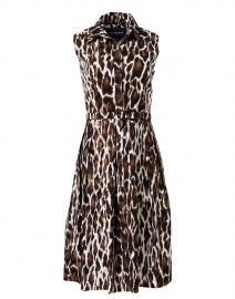 Audrey Sepia Animal Printed Stretch Cotton Dress
