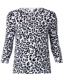 Black and White Animal Print Cotton Sweater