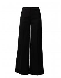 Black Wide Leg Trouser with Cuffed Hem