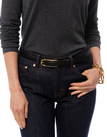 W. Kleinberg - Black Leather Belt with Long Gold Buckle