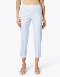 Piazza Sempione - Audrey Blue and White Etched Floral Stretch Cotton Pant
