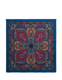 Scialle - Teal and Red Paisley Silk Scarf