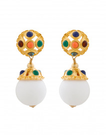Multi Colored Cabochon Clip-On Drop Earrings