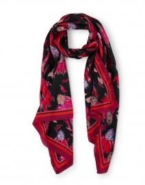 Pink and Black Floral Printed Silk Scarf