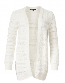 Martina White Cable Knit Cotton Cardigan