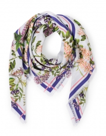 Nicole Lilac Hydrangea Floral Wool and Cashmere Scarf