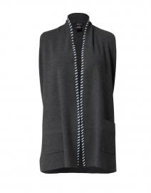 Steel Grey Knit Vest with Whipstitch Trim