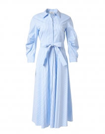 Cailyn Blue and White Stripe Stretch Cotton Shirt Dress