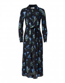 Livia Blue and Black Meadow Printed Shirt Dress