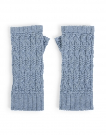 Harbor Blue Cable Fingerless Cashmere Gloves