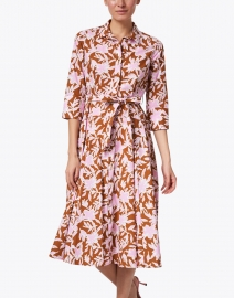 Rosso35 - Pink and Brown Floral Cotton Shirt Dress