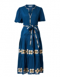 Valonia Navy Embroidered Cotton Dress