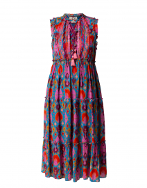 Clara Pink and Blue Ikat Print Dress