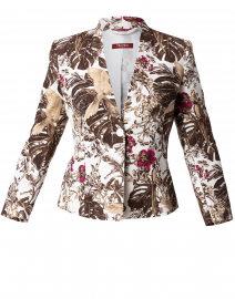 Gallo Pink and Brown Floral Stretch Cotton Jacket