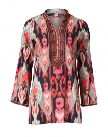 Isabel Red & Navy Ikat Printed Cotton Tunic