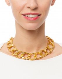 Kenneth Jay Lane - Gold Hammered Link Necklace