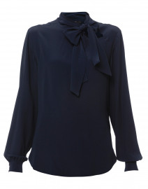 Navy Silk Blouse with Tie Collar