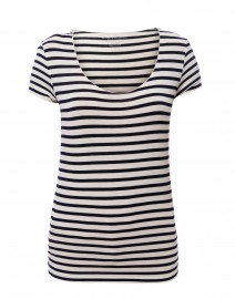 White and Navy Striped Stretch Viscose Top