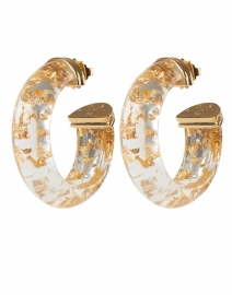 Abalone Clear Gold Foil Hoop Earrings