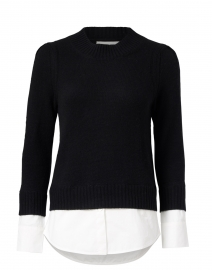 Eton Black Wool Cashmere Sweater with White Underlayer