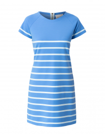 Marina Blue and Glacier Blue Striped Ponte Dress