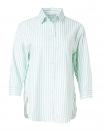 Halsey Mint and White Stripe Stretch Cotton Shirt