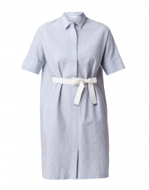 Blue and White Seersucker Shirt Dress