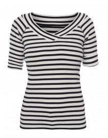 White and Navy Striped Crossover Top