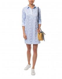 Gretchen Scott - Pale Blue Piazza Printed Jersey Henley Dress
