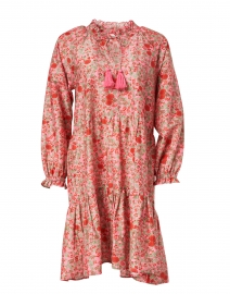 Janni Pink and Red Floral Print Cotton and Silk Dress