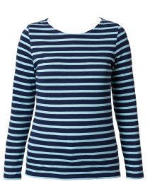 Minquidame Navy and Light Blue Striped Cotton Top
