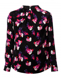 Black and Pink Floral Stretch Silk Blouse