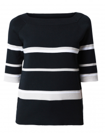 Black and White Striped Cotton Top