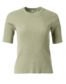 Green Ribbed Cotton Sweater