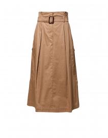 Brusson Camel Cotton Midi Skirt