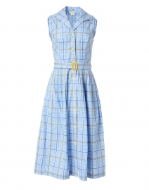 Candide Blue Gingham Cotton Shirt Dress