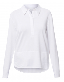 White Henley Cotton Shirt with Tiered Hem