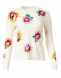 Ivory Floral Intarsia Wool and Cashmere Sweater