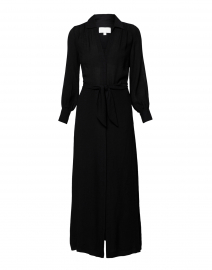 Madsen Black Crinkle Crepe Maxi Shirt Dress