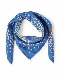 Blue and Camel Floral Printed Silk Scarf
