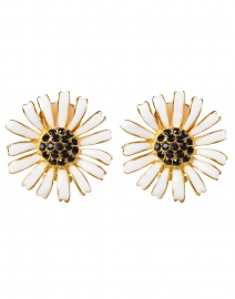 White Enamel Stone Center Daisy Clip-On Earring