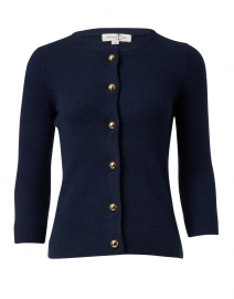 Navy Cashmere Cardigan with Gold Buttons