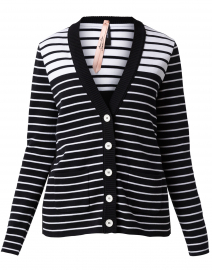 Navy and White Striped Cotton Cardigan