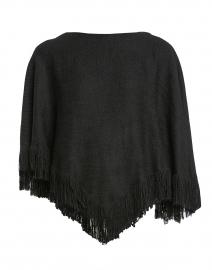 Whitney Black Tweed Fringed Poncho