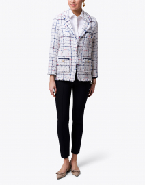 Weill - Carolyn White, Blue and Red Checked Tweed Jacket